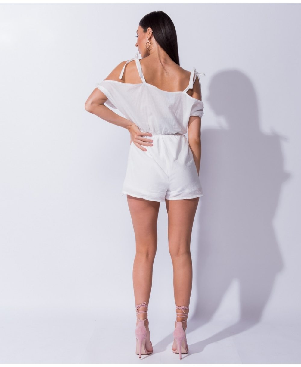 Broderie lace cold shoulder playsuit Mauritius