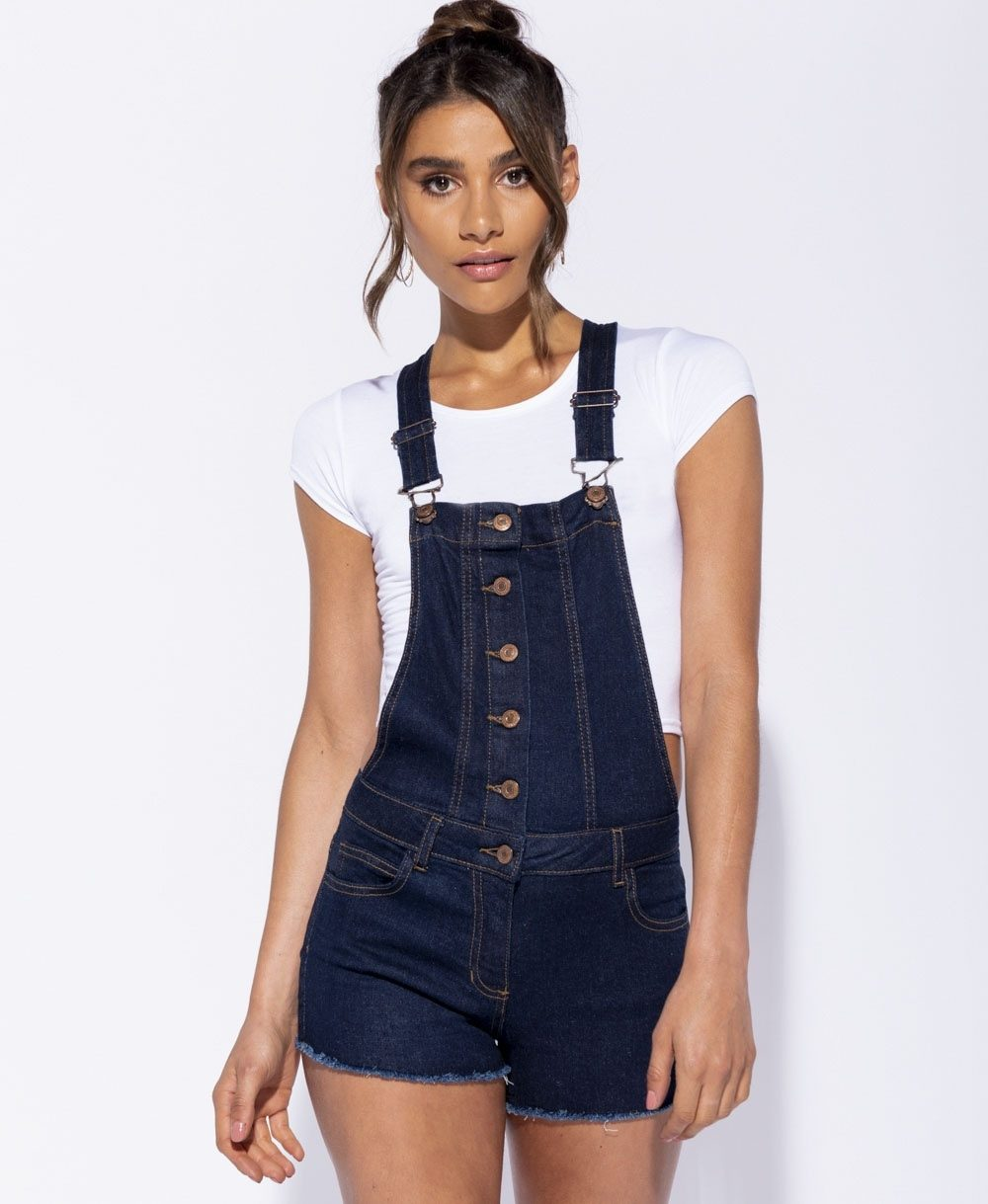 Button Front Frayed Hem Dungaree Shorts Online shopping mauritius