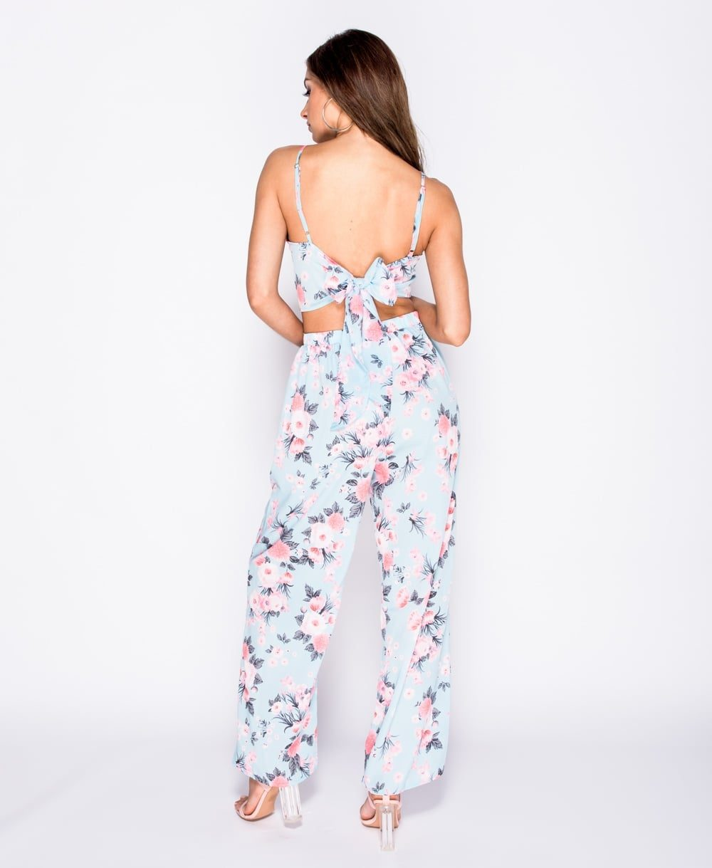 Floral print cami crop top wide leg trousers set Online shopping mauritius
