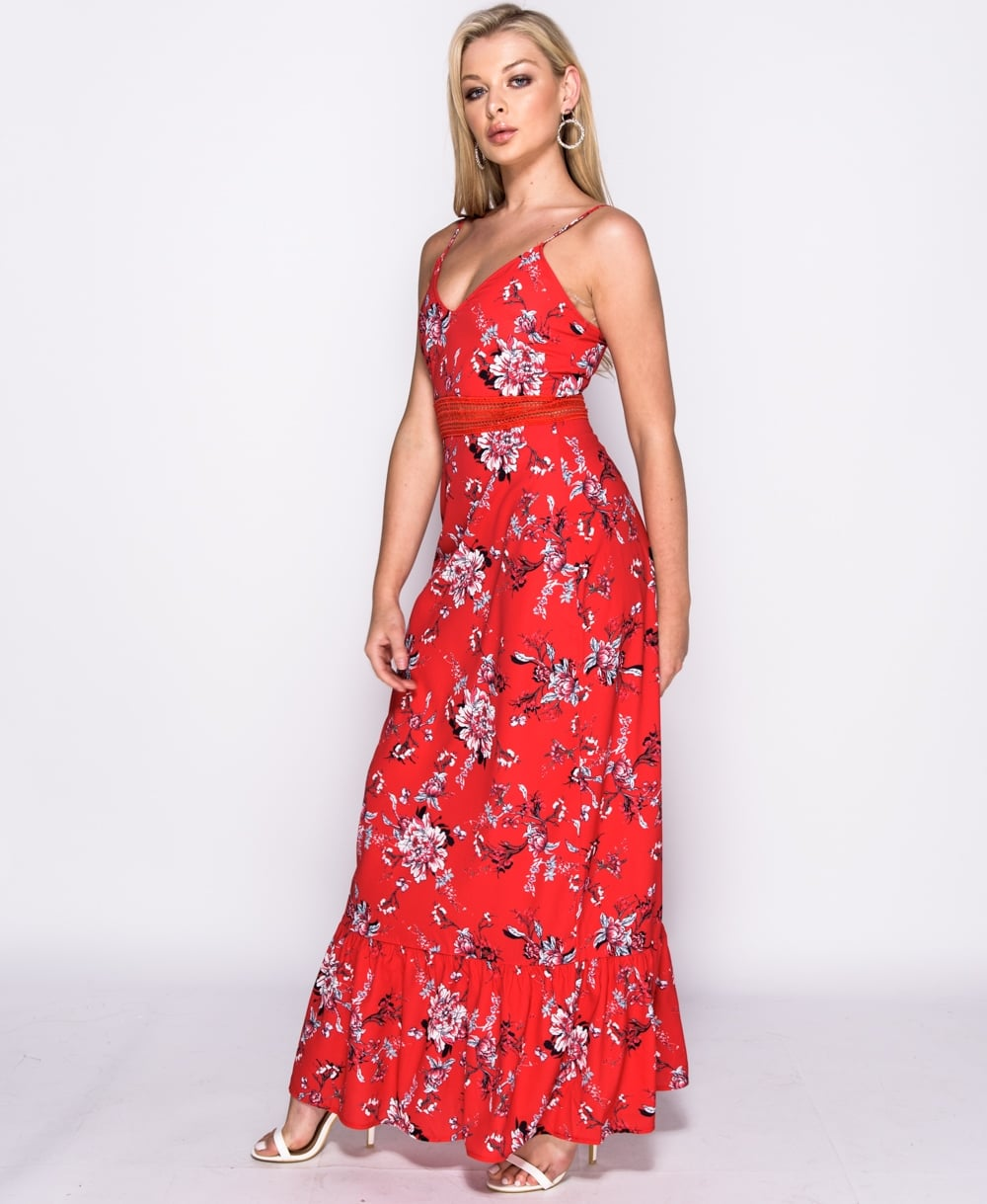 20140e04f7d Red Floral print lace trim maxi dress long dress Online shopping mauritius
