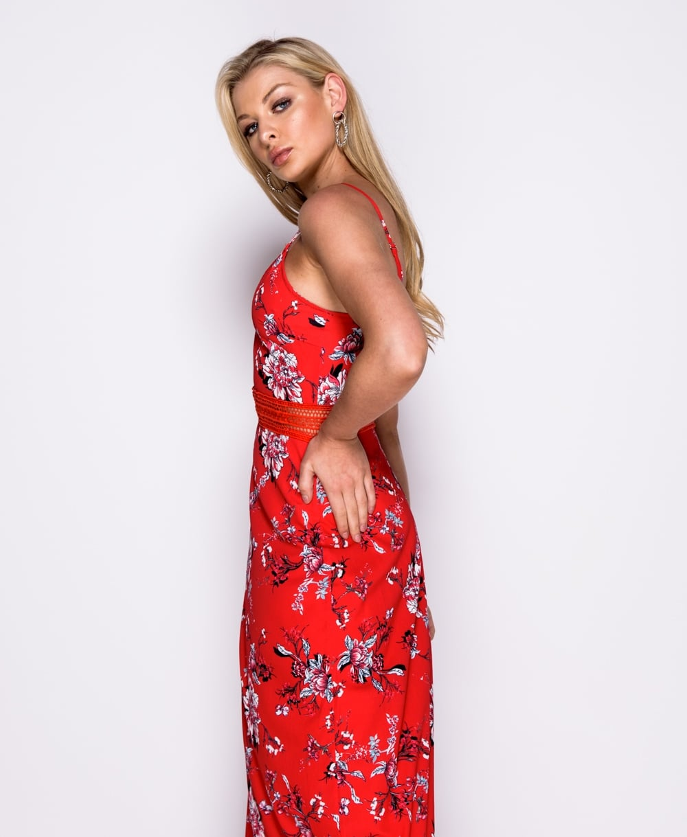 b88e90908 Red Floral print lace trim maxi dress long dress Online shopping mauritius
