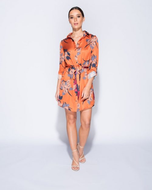 Floral scarf print belted shirt dress Online shopping mauritius