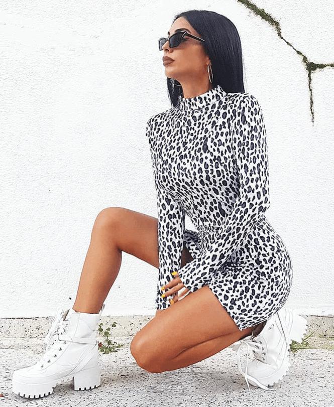 0cdb11348ec Women's Leopard Print High Neck Long Sleeve Bodycon Mini Dress ...