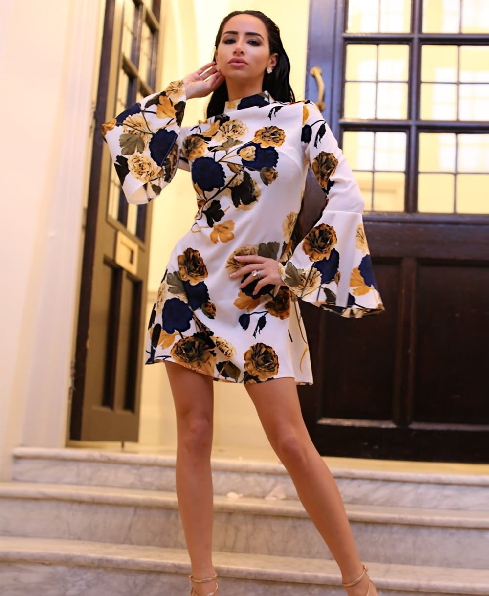 Rose print flare sleeve shift dress Mauritius