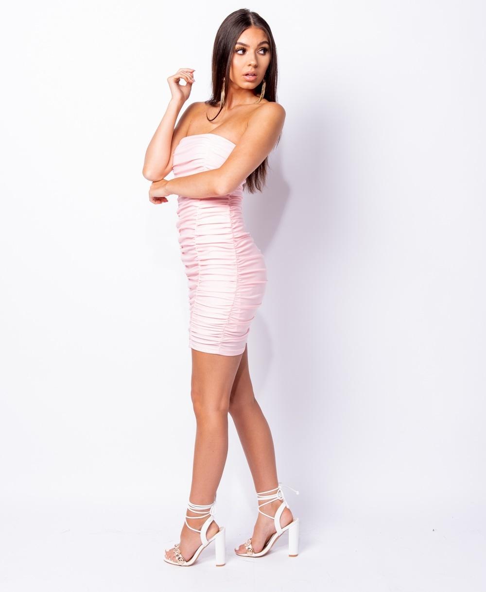 3363180685b6 Rose Ruching detail bandeau bodycon mini dress Online shopping mauritius