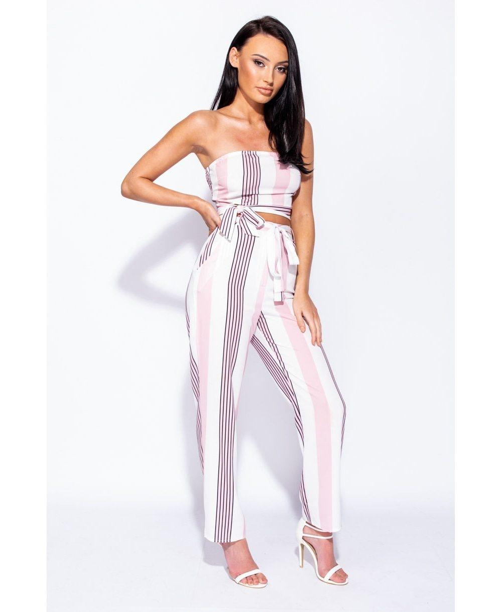 Vertical multi stripe waist tie detail straight leg trouser Online shopping mauritius
